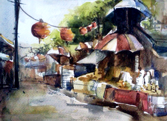 Watercolor painting at Chinatown